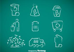 Garbage Chalk Drawn Icons Vector