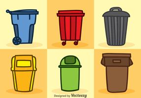 Dumpster Cartoon Icons Vector Sets