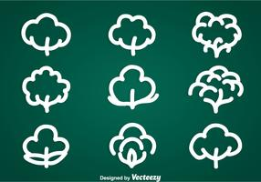 Cotton Plant Icons Vector Sets