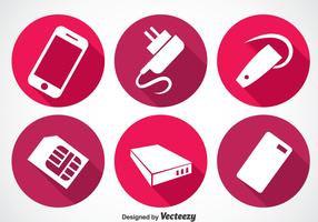Phone Accessories Long Shadow Icon Vectors