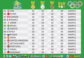 Olympic Medal Table Vetor