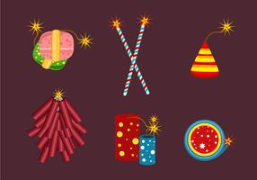 Set of Fire Crackers Vector