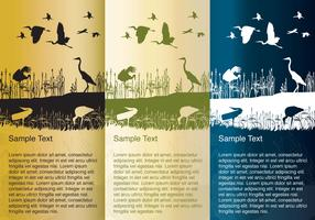 Storks and Herons Silhouette Background Vectors