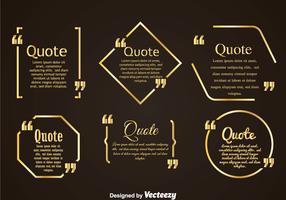 Golden Quotation Mark Bubble Vertors Sets