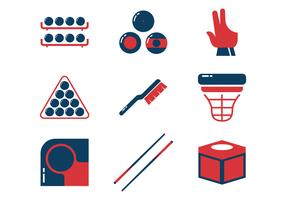 Pool Sticks and Billiards Vector Icons