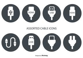 Assorted HDMI and USB Cable Vector Icons