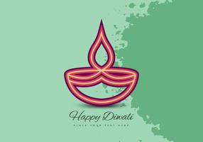 Diwali Festival Celebration Card With Oil Lamp