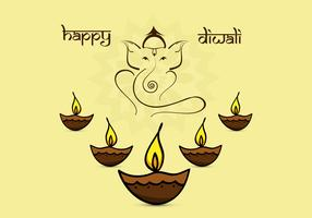 Beautiful Diwali Card With Diyas