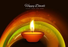Oil Lit Diya With Rangoli Background