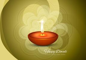 Happy Diwali Card With Glowing Diya