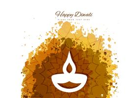 Happy Diwali With Diya On Grunge Background