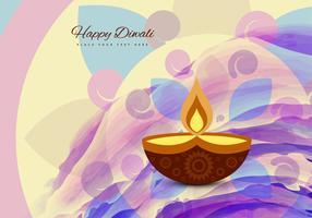Happy Diwali Text With Glowing Diya