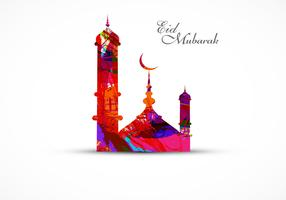 Eid Mubarak Festival With Colorful Mosque
