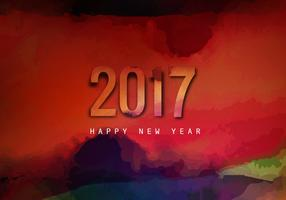 Watercolor Splashes On 2017 New Year