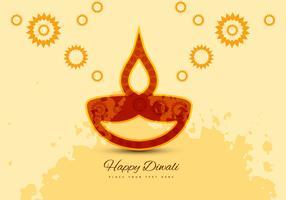 Flora Pattern Diya On Diwali Card