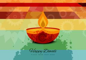 Lighted Diya On Abstract Background