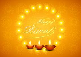 Happy Diwali Greeting Card With Glowing Diyas