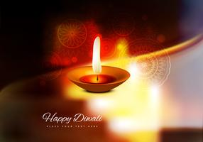 Burning Diya On Happy Diwali Card