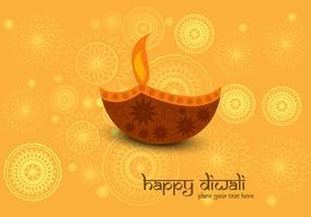 Decorative Diya On Diwali Card