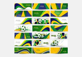 Header Of Brazilian Flag Color With Soccer