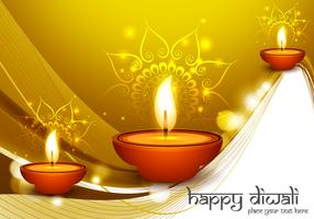 Diwali Oil Lamps On Golden Background