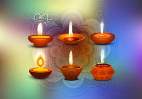 Glowing Diya With Rangoli On Happy Diwali Card
