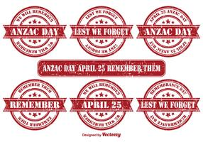 Anzac Day Vector Grunge Stamps