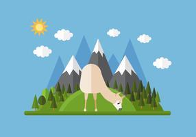 Vector Mountain Llama