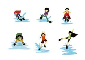 Fun Water Skiing Vectors