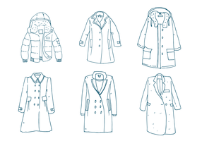 Winter Coat Outline Vector Set