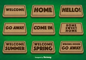 Doormat Set on Green Background Vectors