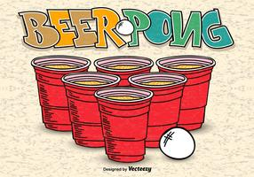Beer Pong Hand Drawn Poster Vector