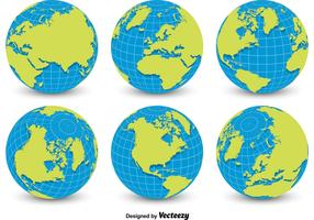 World Globe Grid Vectors