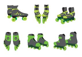 Green Roller Blade Vector