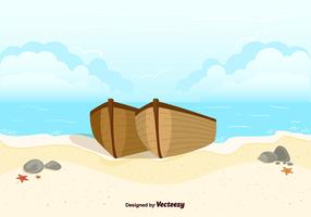 Boats On Beach Background Vector