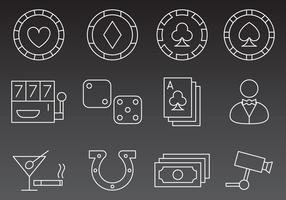 Casino Line Icon Vectors