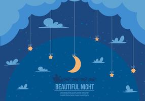 Free Beautiful Night Santa Sleigh Vector