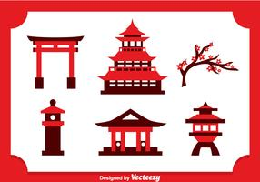 Japanese Castle Icons Vector