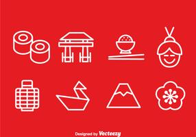 Japanese Outline Icons Vector