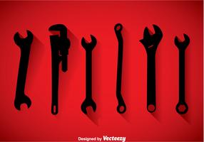 Wrench Black Icons Vector