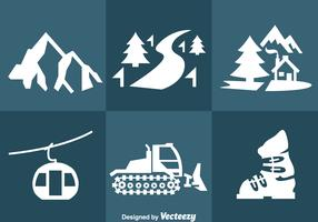 Snow Resort Icons Vector