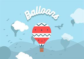 Hot Air Balloons Landscape Vector
