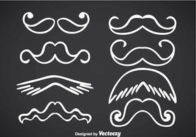 Movember Mustache White Line Vectors