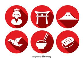Japanese Culture Icons Vector