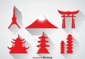 Japanese Landmark Icons Vector