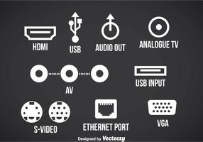 Connection Port Icons Vector