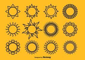 Black Suns Icon Vectors