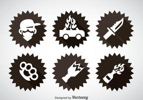 Gangster Element Icons Vector