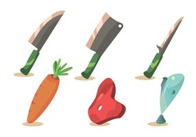 Meat and Cleaver Vector Set