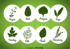 Herbs And Spices Green Icons Vector